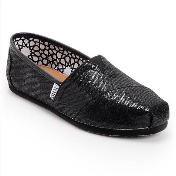 f6a998a43 Toms Classic Black Glitter Women's espadrille. M_5ab9a0f18290aff124a4ca42